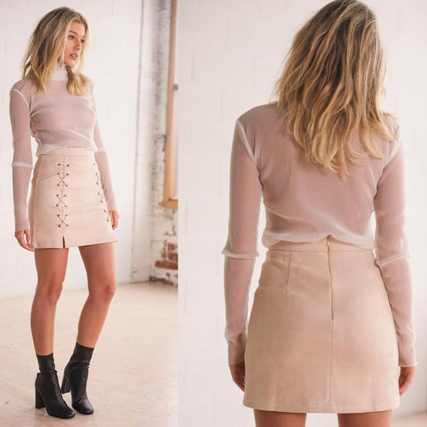 Lace Up Nude Suede Mini Skirt