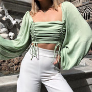 Drawstring Long Sleeve Top in Light Green
