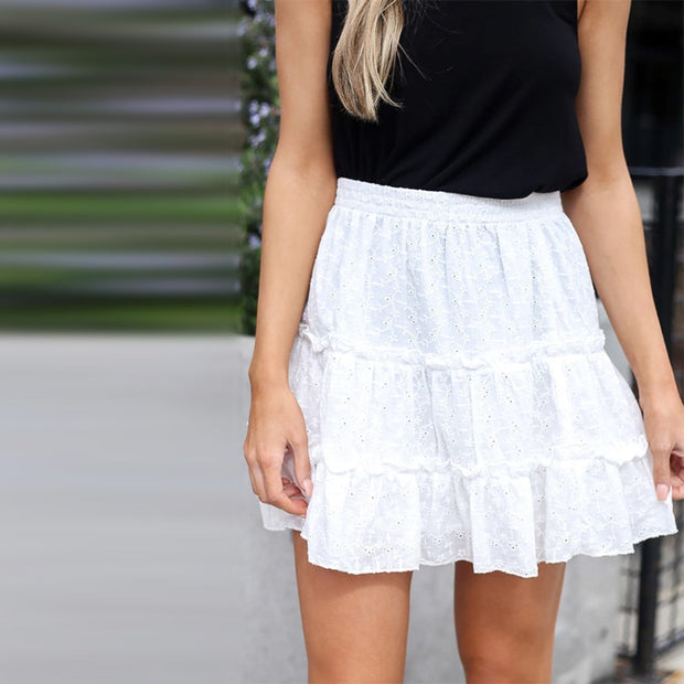 Ruffles Vintage Embroidery Summer Skirt