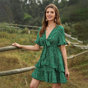 Green Polkadot Print V Neck Mini Dress