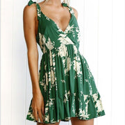 V-neck Floral Print Party Mini Dress in Green