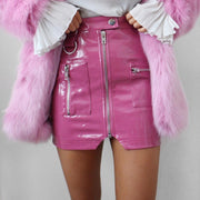 Cryptographic PU Leather Sexy High Waist Skirt Zipper Fake Pockets Streetwear Fall Winter Split Pink Mini Skirts Bodycon Short