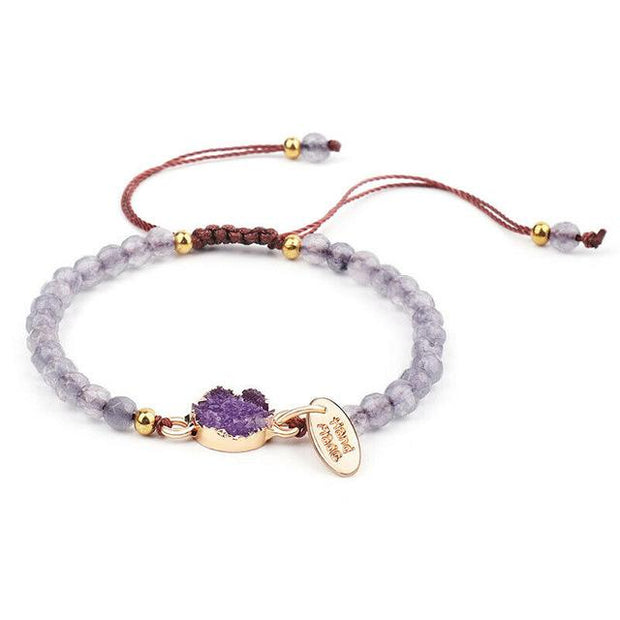 nature stone braslet rose/grey/purple nature stone bracelet handmade jewelry weave knot crystal embryo handband birthday gift