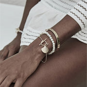 3Pcs/set Bohemian Golden Scallop Shell Pendant Bracelet Bangle Women Fashion Imitation Pearl Chain Charm Bracelet Jewelry
