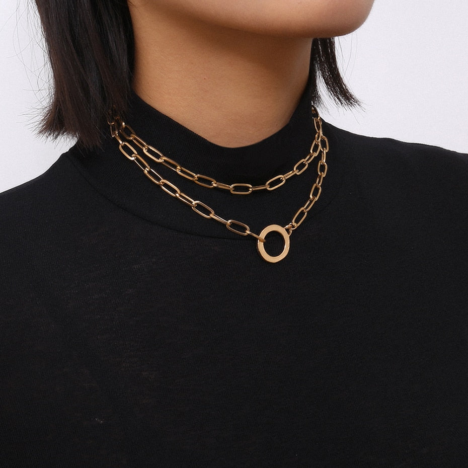IngeSight.Z Punk Double Layer Round Circle Short Choker Necklace Collar Simple Gold Color Pendant Necklaces for Women Jewelry