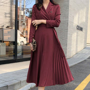 Vintage Belted Pleated Midi Dress