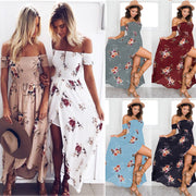 Boho Style Off Shoulder Backless Summer Holiday Casual Dress Floral Print Soft Chiffon Split Dress Slim Strapless Maxi Dress