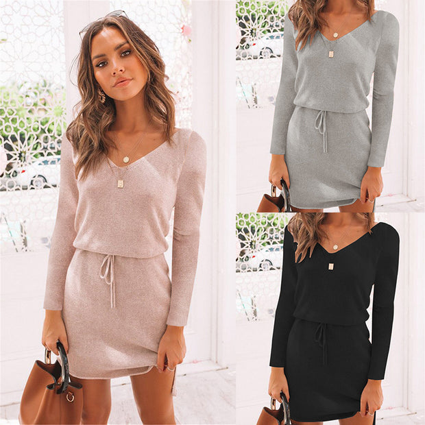 2020 new arrival women dress spring pink dress polyester solid V neck long sleeve dress free shipping party dress streetwear