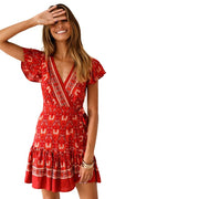 Flower V-Neck Wrap Mini Dress