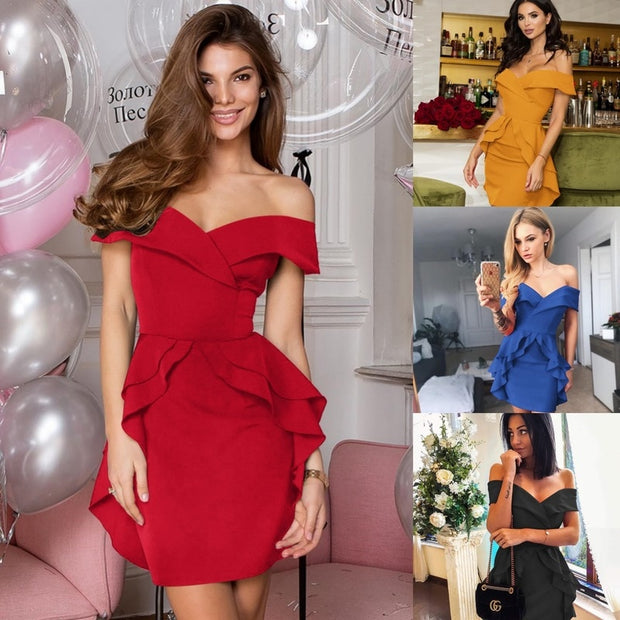 Women Autumn Dress 2020 Slash Neck Off Shoulder Backless Tunic Party Dress Sexy Empire Ruffles Femme Bodycon Bandage Dress