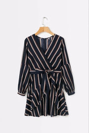 Wrap Print Dress Long Sleeve in Black