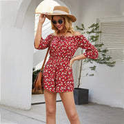 Women Boho Floral Rompers Ladies Offshoulder Summer Beach Short Playsuit Fashion Ladies Short Sleeve Holiday Jumpsuit