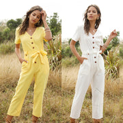 Bodysuit Women Summer Fashion Casual Short Sleeve V-Neck Solid Button Playsuit Party Trousers Jumpsuit Sashes Dropship Overalls