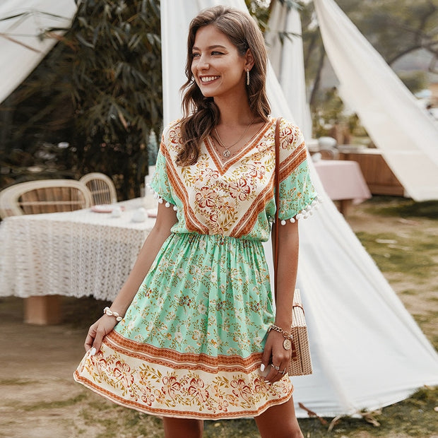 Vintage Dress Short Sleeve Boho Women Dress Sexy Ruffled Retro Sash High Waist Floral Print Dress Summer Ladies Beach Dress Mini