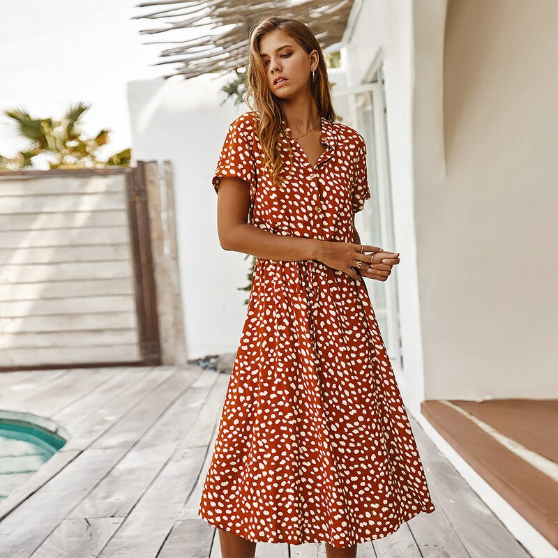 Sexy Short Sleeve Women Dress Boho Dot Print Summer Beach Dress Ladies A-line Backless Holiday Casual Party Dress 2020