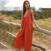 Summer Sexy Jumpsuits Women Rompers Elegant Loose Solid Buttons Casual Wide Leg Pant Jumpsuit Overalls Plus Size