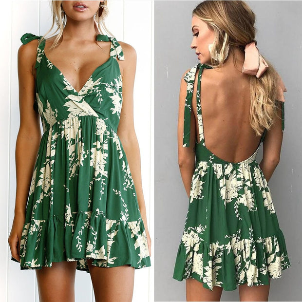 Women Boho Beach Summer Strapless Dress Mini Sleeveless V-neck Floral Dress Elegant Party Ladies Dress Fashion Tunic Sundress