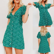 Polkadot Print V-Neck Mini Dress