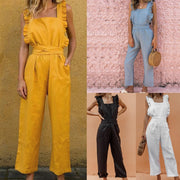 Elegant Jumpsuit Woman RomperTunic Linen Solid Wave Ruffles Backless Sashes 2020 Summer Sexy Women Jumpsuit Overalls Office Lady