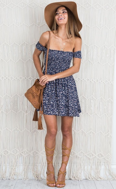 Florida Floral Off Shoulder Mini Dress