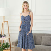 Summer Dress Women 2020 Sleeveless A-line Casual Dress V Neck Backless Empire Sexy Dress Floral Knee Length Beach Dress Elegant