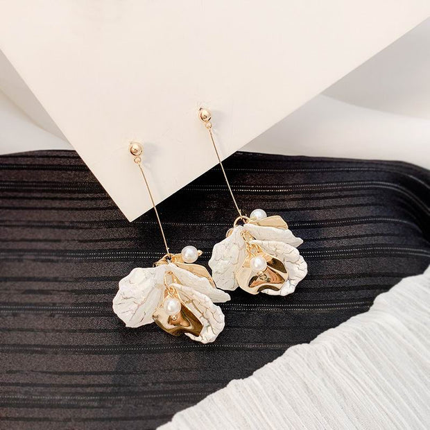 2020 New Fashion Flower Petals Long Drop Earrings For Women Personality Elegant Party Jewelry Korean Earrings
