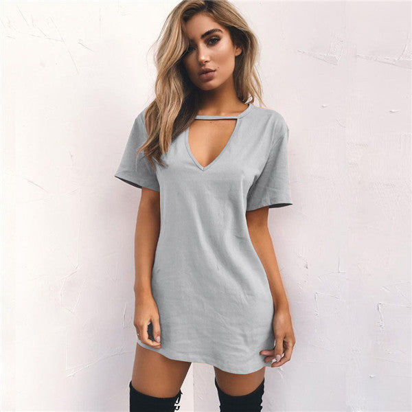 Basic Cutout Mini T-Shirt Dress