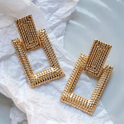 AENSOA 2020 Fashion Geometric Earring For Women Gold Color Meatal Jewelry Exaggeration Punk Big Long Rectangle Statement Earring