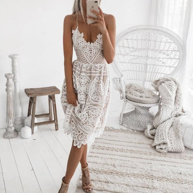 Hollow Lace Mini Dress in White