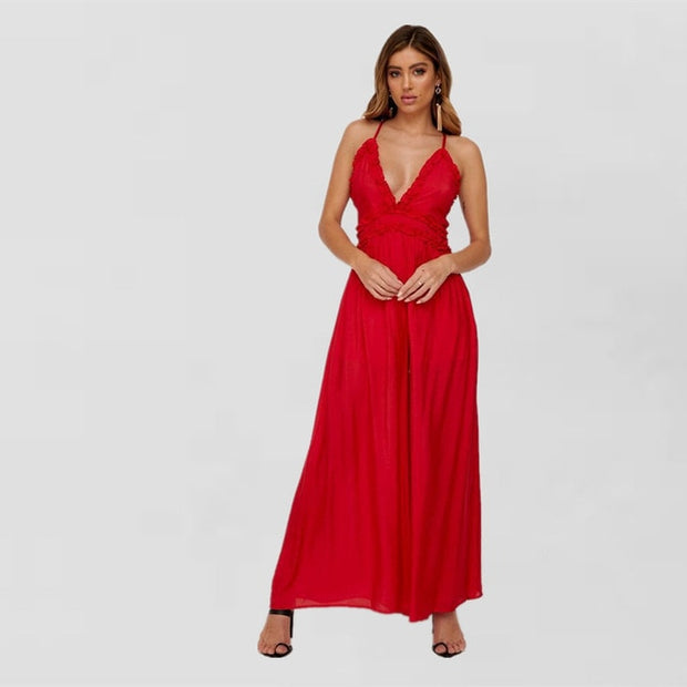 Plunging Wide Leg Jumpsuit