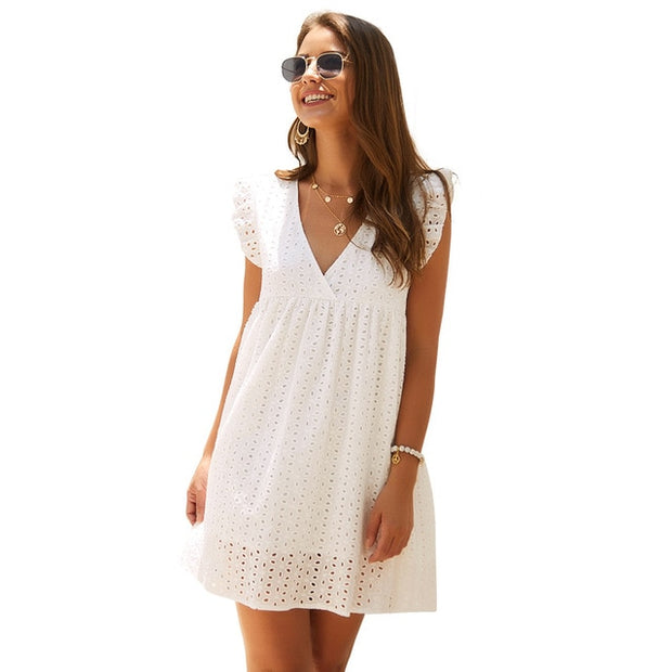 Butterfly Sleeve Embroidery Eyelet Mini Dress