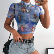Sweetown Sexy Transparent Summer Tops 2019 Short Sleeve Greek Mythology Print Cute Graphic Tees Women Mesh Cute Crop Top Tshirt
