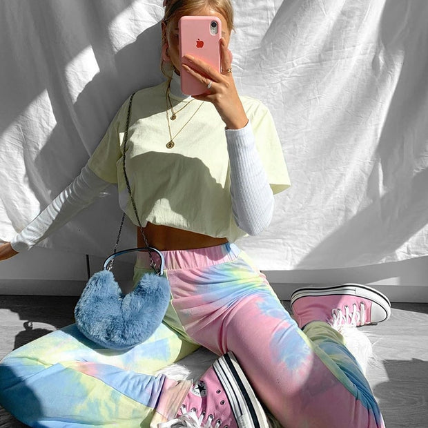 Sweetown Casual Baggy Straight Pants Women Tie Dye Print Elastic High Waisted Trousers Hip Hop Joggers Harem Pants Streetwear