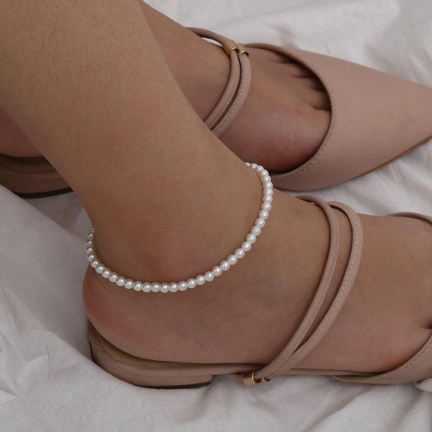 Bohemian Simulated Pearl Bead Anklets for Women Accessories White Color Vintage Barefoot Sandal Foot Bracelet Charm Jewelry Gift