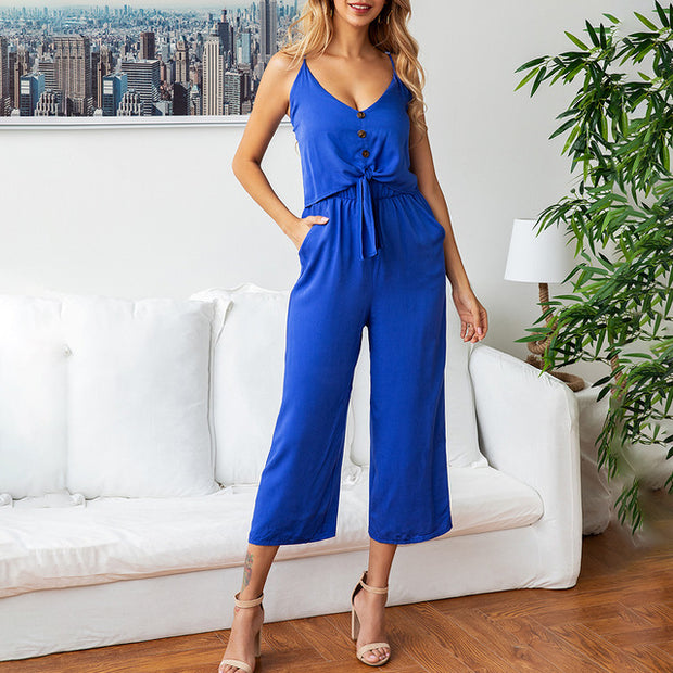 Wide Leg RompersWomens Jumpsuit Elegant Summer Backless Strapless Casual Ladies One Piece Clothing Pocket 2020 Outfits For Women