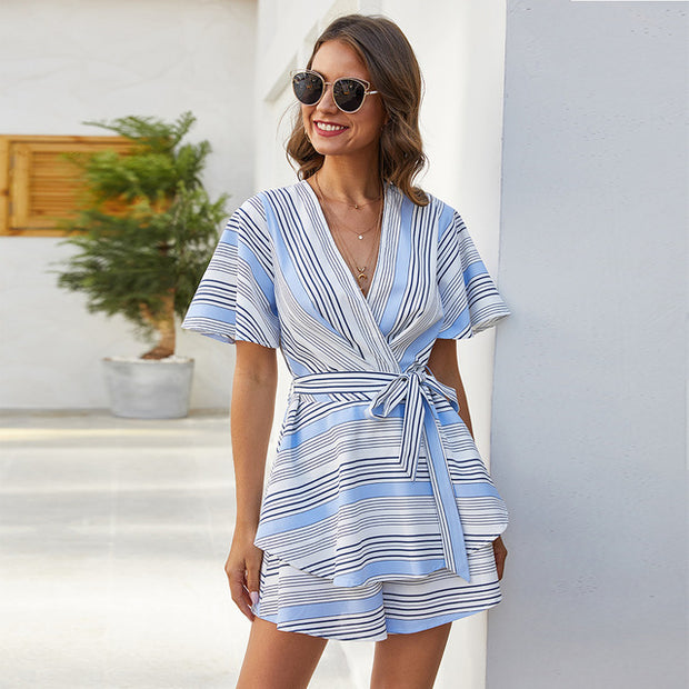 Striped Rompers Womens Jumpsuit Summer Backless Elegance Casual Short Sleeve Clothing Wide Leg One Piece Playsuit With Belt 2020