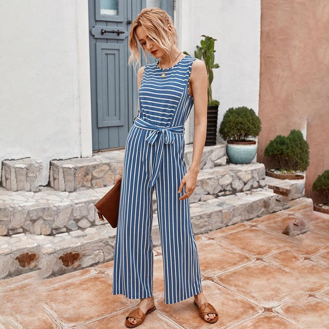 Rompers Womens Jumpsuit Summer Striped Tank Casual Pink Wide Leg One Piece Matching Outfits Women Clothes Belt 2020 Fashion Blue