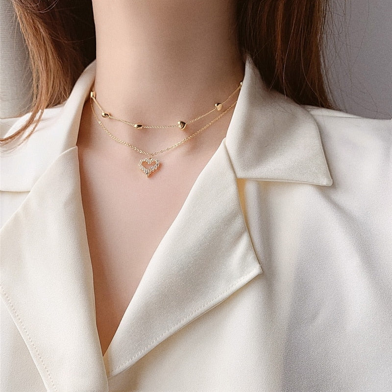 2020 New Double layer Chain Heart Choker Necklace For Women Gold Chain Korean Style Collar Female Chocker Fashion Jewelry