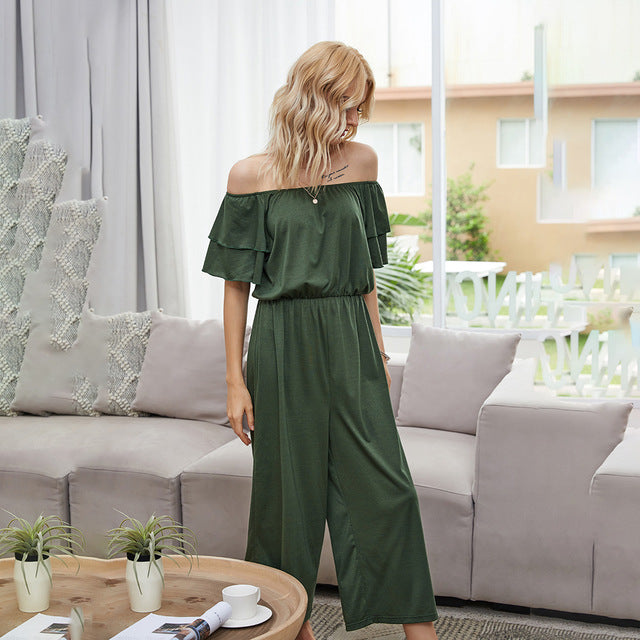 Rompers Womens Jumpsuit Summer Off Shoulder Backless One Piece Women Outfit Ladies Home Lounge Wear Clothing Matching Suits 2020