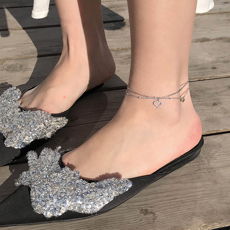 ANENJERY Double Layer Love Heart Anklet Bracelet Silver Color Cubic Zircon Anklet Sandals Foot Jewelry S-B328
