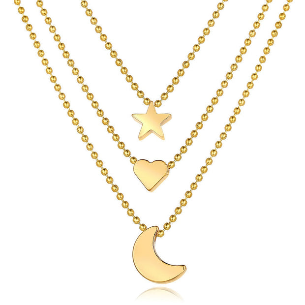 Moon Heart Star Necklace
