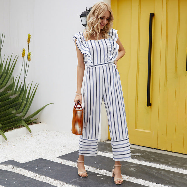 Romper Womens Jumpsuit Summer Backless Casual Striped Square Neckline Tank Clothes Women One Piece Suits 2020 Fashion Clothing