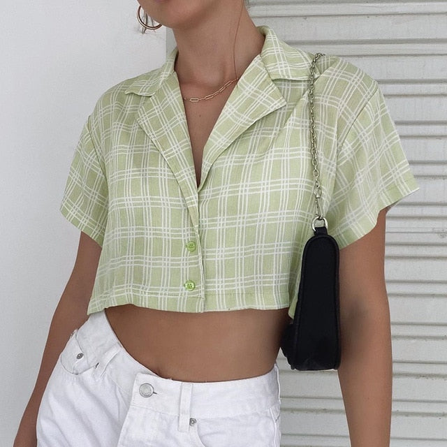 Plaid Sage Top