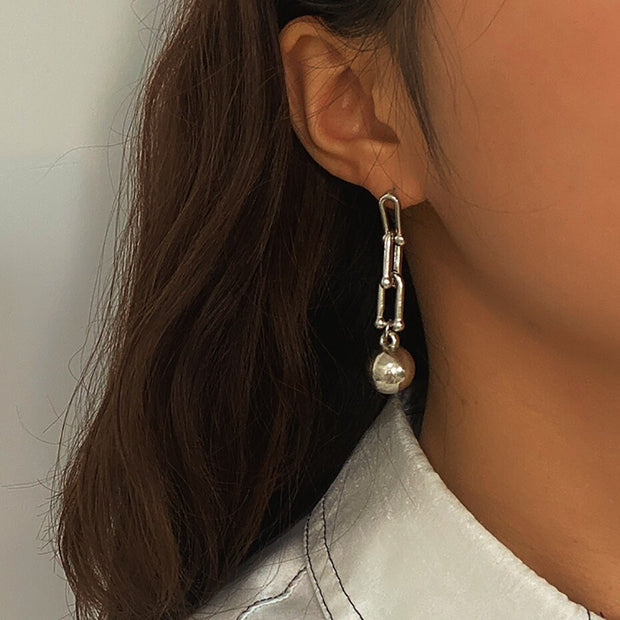 IngeSight.Z Vintage U Shape Drop Dangle Earrings Statement Gold Color Small Ball Pendant Hanging Earrings for Women Jewelry Gift