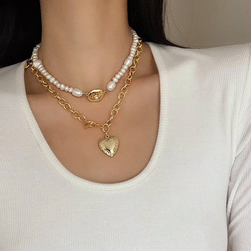 AENSOA 2020 Korean Fashion Classic Thick Chain Necklace Punk Metal Gold Color Heart Pendant Necklace For Men Women Men Jewelry