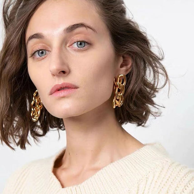 AENSOA 2020 New Fashion Metal Chain Geometric Drop Earrings for Women Vintage Punk Link Chain Gold Color Earrings Pendientes