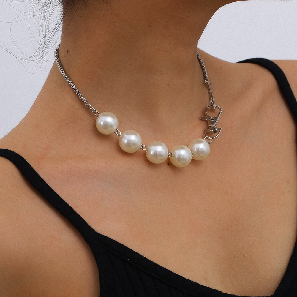 IngeSight.Z Bohemian Imitation Pearl Chain Choker Necklace Collar Simple Minimalist Short Clavicle Necklaces for Women Jewelry