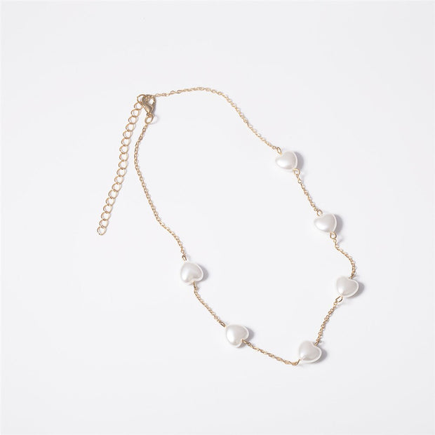 Heart Star Pearl Choker Necklace