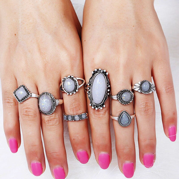 New arrival 8pcs/set vintage silver color average size ring resin opal stone cocktail ring for women - Maison Caujaulet
