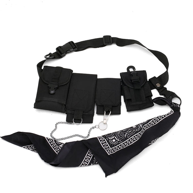 Hip Hop Chest Bag for Men Black Fashion Streetwear Chest Rig Fanny Pack Multi-pocket Travel Phone Belt Bag Pouch Waist Pack 2019